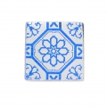 Square Cabochon with Mirror Finish 10 mm Crystal Azulejos Pattern x1