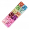 Set of Ornella tubes seed beads 6x2 mm Dyed Silver Lined x200g