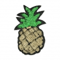 Sequins to iron-on Badge Pineapple 83x52 mm Green/Golden x1