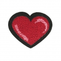Badge to iron-on Heart 65x50 mm Light Siam/Pink/Black x1