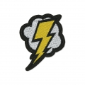 Badge to iron-on Cloud Storm Thunderbolt 62x55 mm Yellow/Light Grey/Black x1
