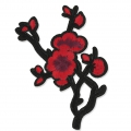 Badge to iron-on cherry tree flowers 115x72 mm Black/Red x1