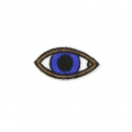 Badge to iron-on Lucky-charm Eye 50x25 mm White/Blue/Brown x1