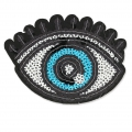 Sequins Badge to iron-on Eye 90x65 mm White/Blue/Black x1