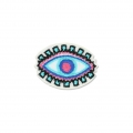 Badge to iron-on Lucky-charm Eye 43x32 mm White/Turquoise/Pink x1