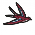 Badge to iron-on Vintage Swallow Bird 105x90 mm Blue/Burgundy x1