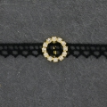 Rhinestones Spacer for 10 mm lace to create chokers 18 mm Crystal/Golden x1
