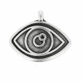 Lucky-charm Eye Charm 15.5 mm Antique Silver x1