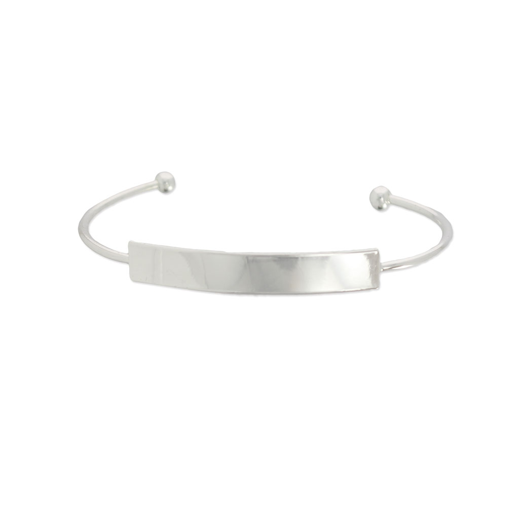 jonc bracelet eco with a plate to customize 42x7 mm silver x1