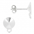 Earstuds with 1 closed ring for Swarovski cabochons 1122 8 mm Sterling Silver 925 x2