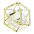 Polygon Spacer with glass cabochon 20 mm Crystal/Golden x1