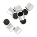 Tube terminators for 5mm cords Old silver tone x10