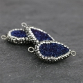 Spacer Druzy plastilin rhinestones 2 loops 32 mm Blue/Crystal x1