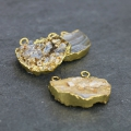 Druzy pendant Agate 2 loops25-35 mm Naturel/gold tone x1