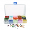 Assortment with seed beads 6/0 - 4 mm 15 colours Multicolore