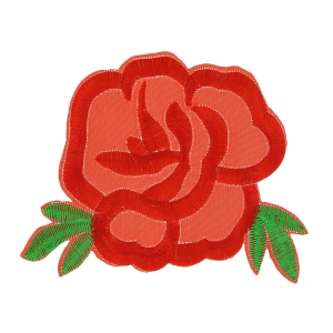 Hotfix Badge  Rose  100x75 mm Red/green x1