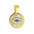 Pendant lucky eye with rhinestones 22 mm Stainless Steel gold tone/Crystal x1