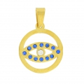 Pendant lucky eye with rhinestones 26 mm stainless steel gold tone/Sapphire x1