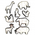 Sheet of 8 3D stickers 60 mm Animals origami white/gold