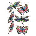 Sheet of 6 3D stickers 65 mm butterfly feather dragonfly