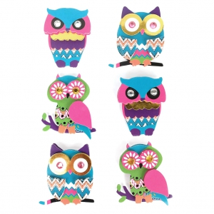 Sheet of 6 3D stickers 45 mm Owl Multicolor