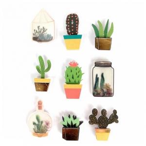 Sheet Of 9 3d Stickers 40 Mm Cactus Terrarium Perles Co