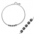 Chocker with settings for  cabochons Swarovski 1028/1088 6 mm old silver tone x1