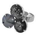 Ring for  3 cabochons Swarovski Rivoli 12 mm old silver tone x1