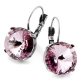 Leverback Earrings for Cabochons Swarovski Rivoli 14 mm old silver tone x2