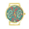 Round Watch motif paisley 40 mm gold tone Oil Blue x1