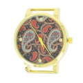 Round Watch paisley 40 mm gold tone black x1