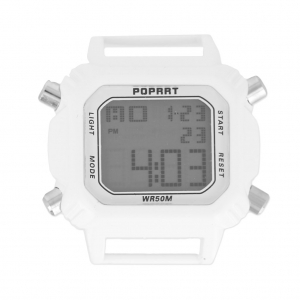 Digital rectangular watch 43.5 mm rhodium tone/whitex1