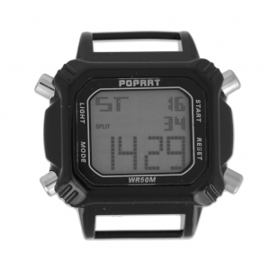 Digital rectangular watch 43.5 mm rhodium tone/blackx1