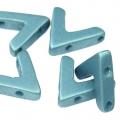 Glasbead V shaped 3 holes AVA® Bead 10x4 mm Blue Tur Met Mat x10
