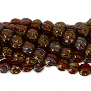 Glass beads Melon Bead 5mm Ruby Bronze Iris x15