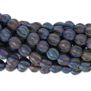 Glass beads Melon Bead 6mm Blue Iris Mat x15