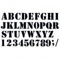 Decorative stencil Home deco alphabet and numbers 40 mm