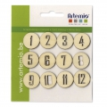 Set with 12 numbers for decoration made of wood 15 mm Natural