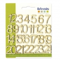 Set with  24 numbers for decoration  made of wood 18 mm Natural