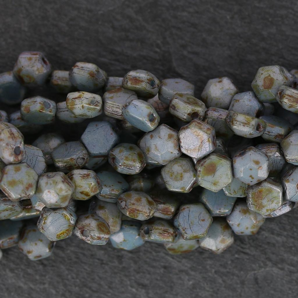 Perles en verre tch que honeycomb jewel 6 mm vert de gris for Vert de gris
