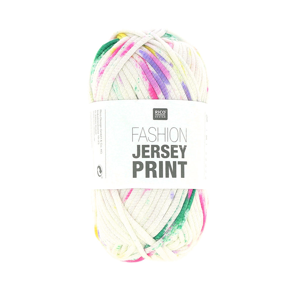 Wool Fashion Jersey Print Rico Design Green Fuchsia Spray