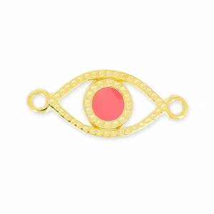Lucky Eye spacer 2 loops 20mm Pink Coral/gold tone x1