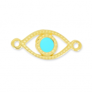 Lucky Eye spacer 2 loops 20mm Turquoise/gold tone x1