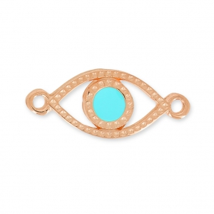 Lucky Eye spacer 2 loops 20mm Turquoise/Rose gold tone x1