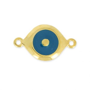 Lucky Eye spacer 2 loops 25 mm Navy blue/gold tone x1