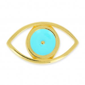 spacer Lucky Eye hollow 25 mm Turquoise/gold tone x1