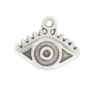 Lucky charm Eye pattern 12mm old silver tone x1