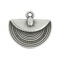 Charm ethnic half-circle 12mm old silver tone x1