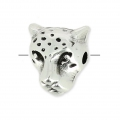 Leopard head charm 10 mm old silver tone x1