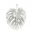 metall pendant philodendron leaf 50 mm old silver tone  x1